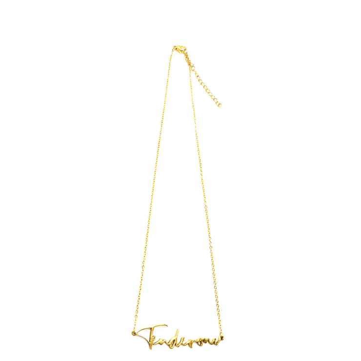 """Tenderoni"" Script Necklace (18k gold-plated)"
