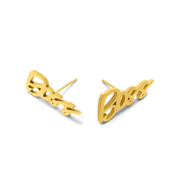 """Boss"" Stud Earrings (18k gold-plated)"