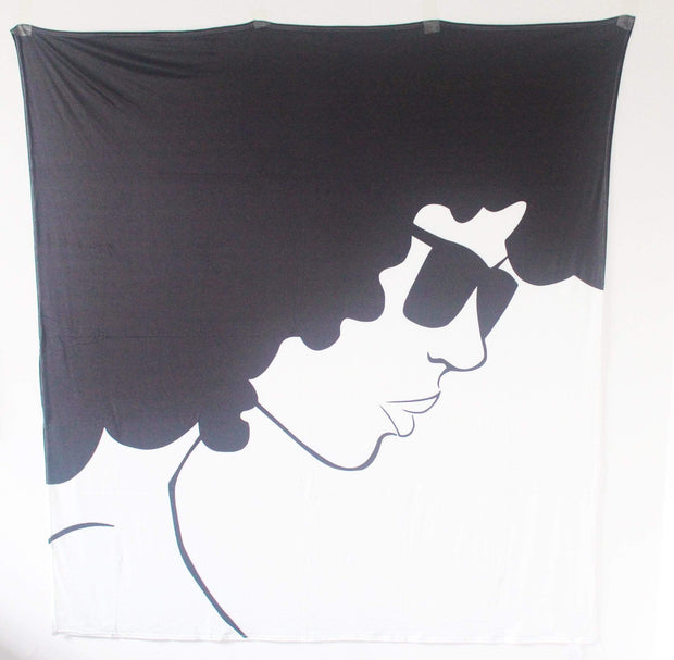 Curly Fro Black & White Versatile Tapestry/Throw