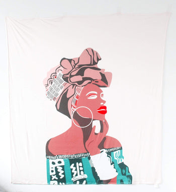 Confident Headwrap Woman Versatile Tapestry/Throw