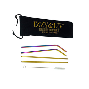 Chillin' & Sippin' 5-Piece Multicolored Stainless-Steel Straws (3 Sets)