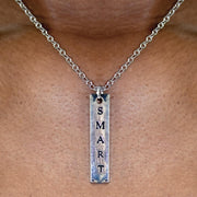 Fierce/Smart 2-Sided Engraved Bar Necklace