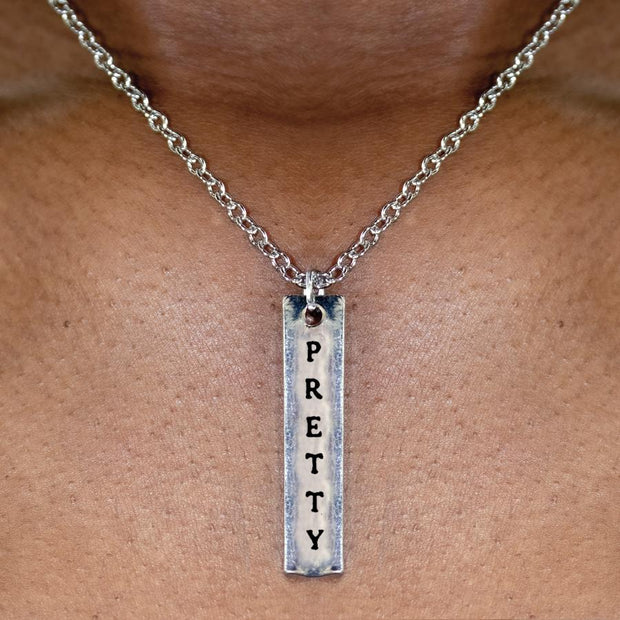 Magic/Pretty 2-Sided Engraved Bar Necklace