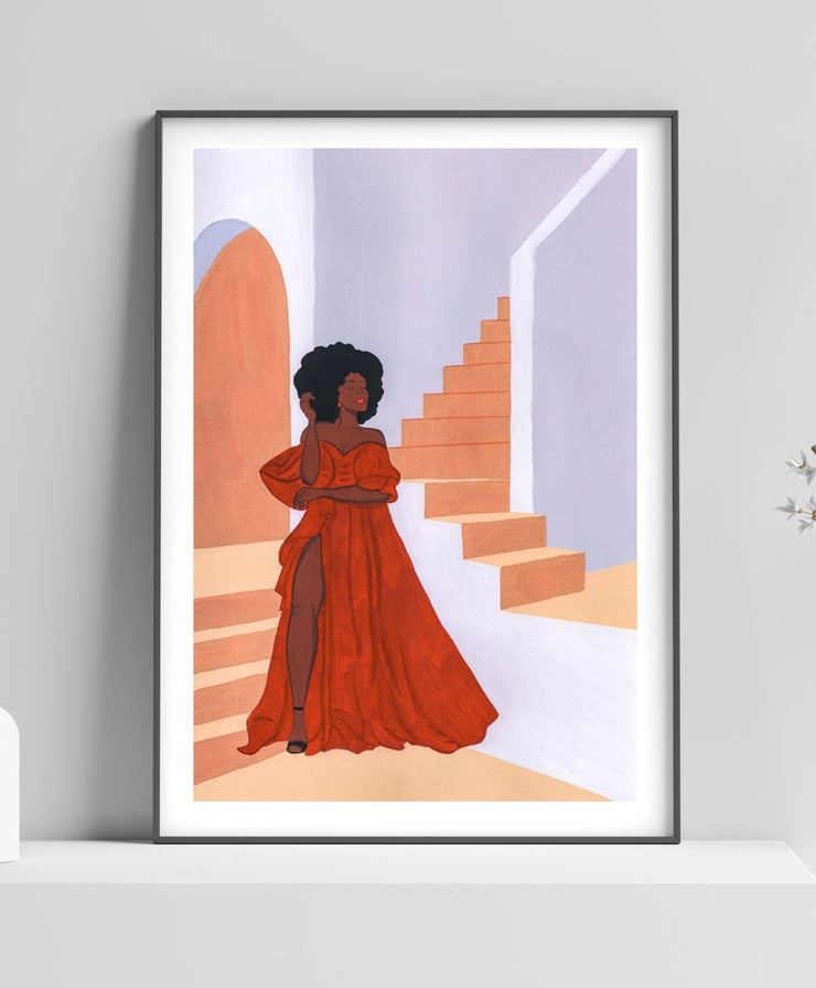 Lady in Red Printable Art