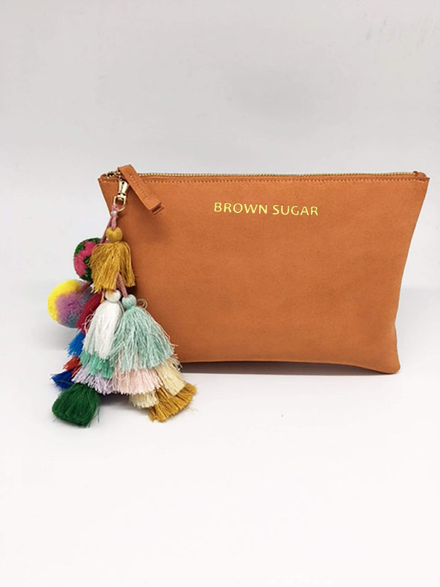 "Suede ""Brown Sugar"" Clutch With Tassels - Izzy & Liv - Accessories"