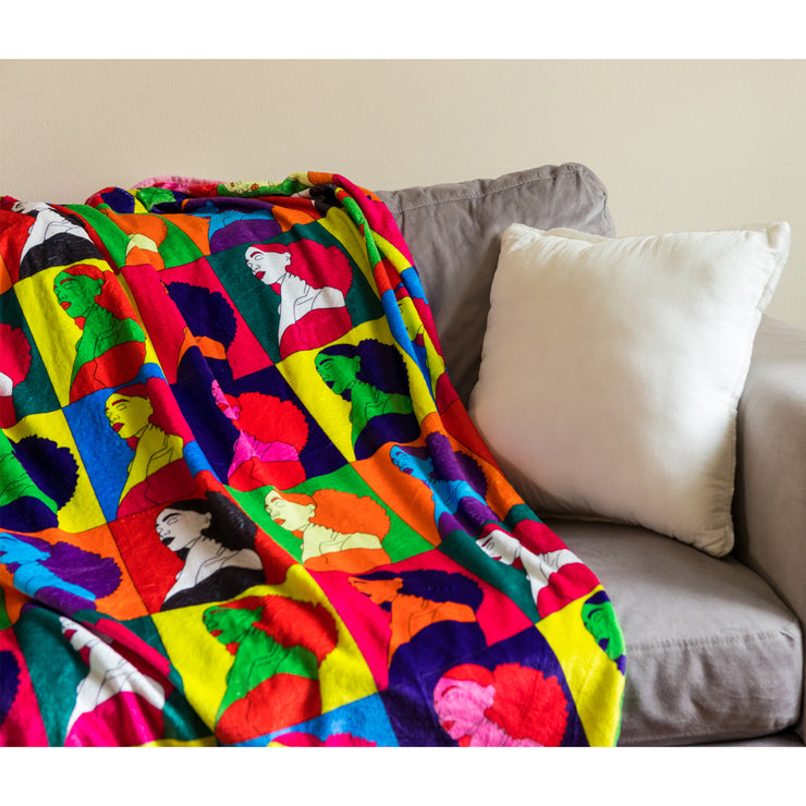 Afro Chic Ponytail Plush Fleece Blanket