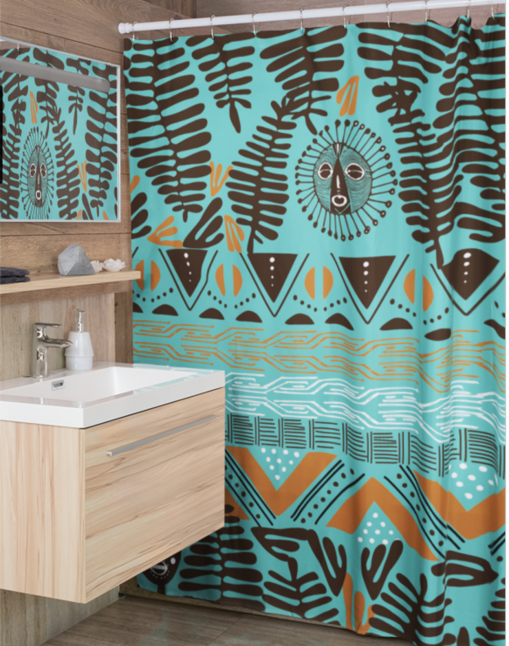 Tribalistic Teal Shower Curtain
