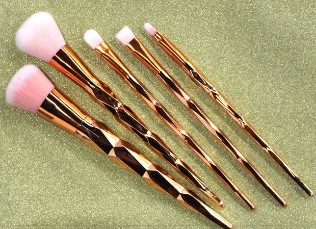 Rose Gold 5 Piece Makeup Brush Set - Izzy & Liv - Accessories