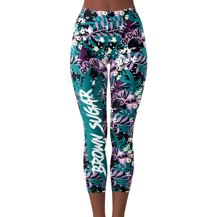Brown Sugar Floral Crop Yoga Leggings