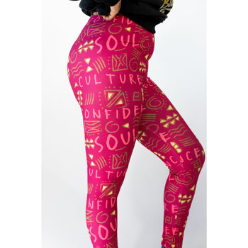 Culture Confidence Soul Stretch Leggings (Maroon)