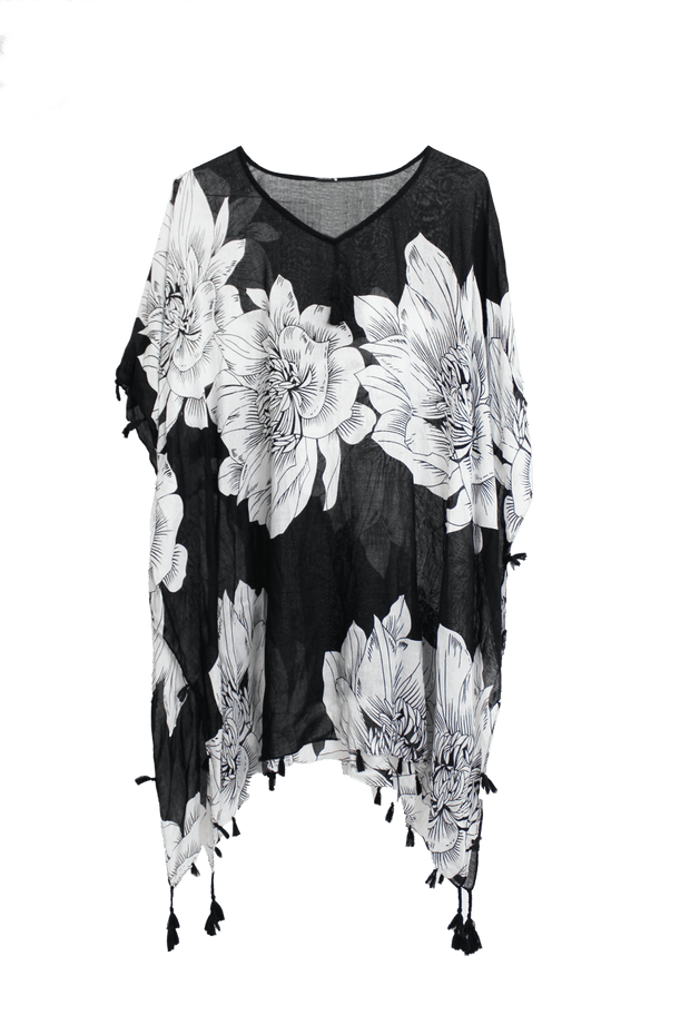 Black & White Floral Swimsuit Coverup