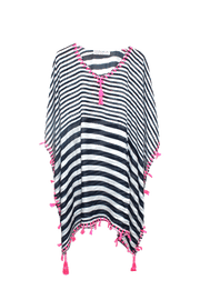Pink Fringe Navy & White Stripe Swimsuit Coverup - Izzy & Liv - coverup