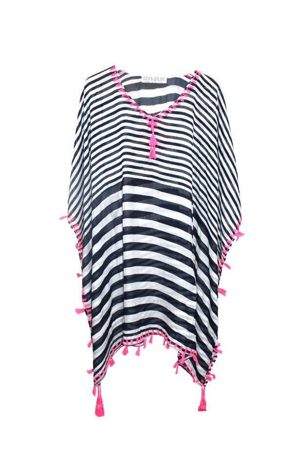 Pink Fringe Navy & White Stripe Swimsuit Coverup