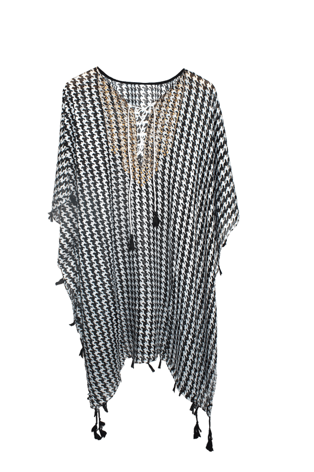 Black & White Houndstooth Gold Coverup