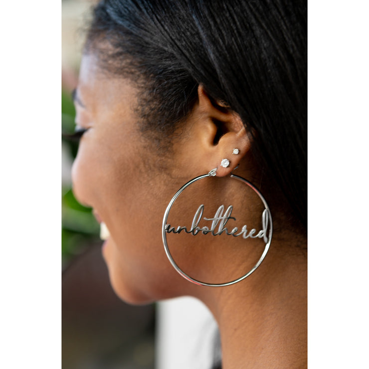 """Unbothered"" Hoop Earrings (18k gold or silver plated)"