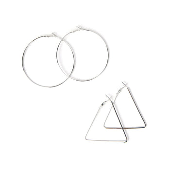 Round + Triangle Hoop Earring 2-Pair Set (Gold or Silver Plated)