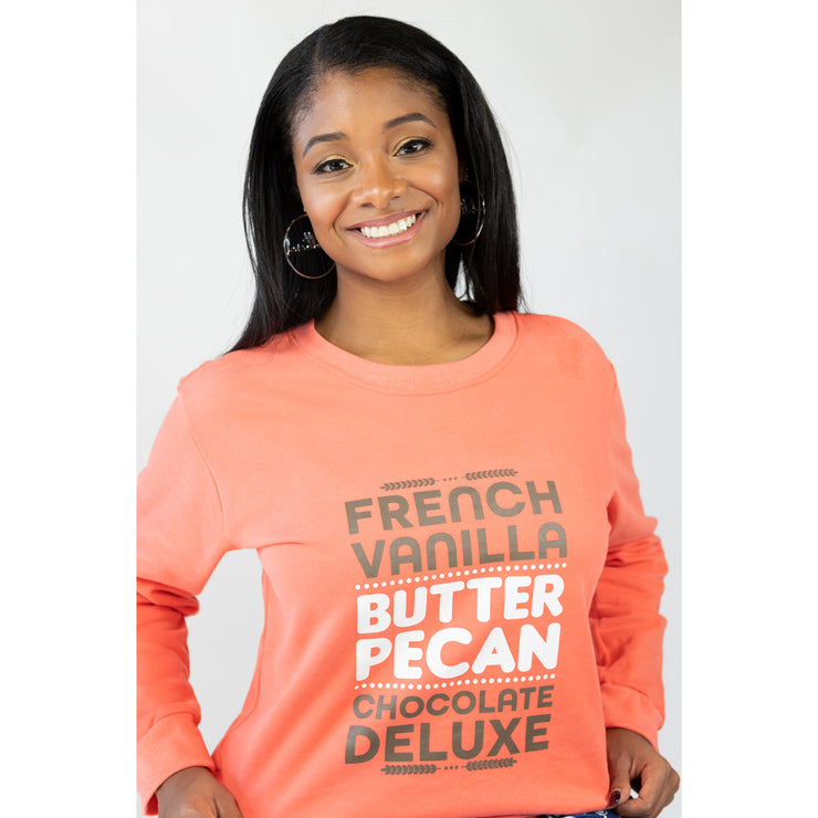 French Vanilla, Butter Pecan, Chocolate Deluxe Sweatshirt