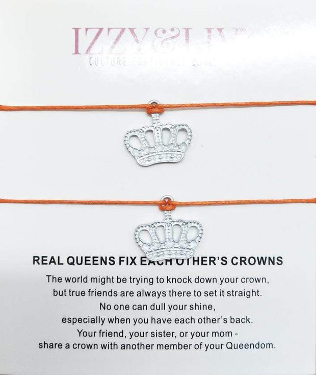 Crowned Friendship Charm Bracelets [Set of Two]
