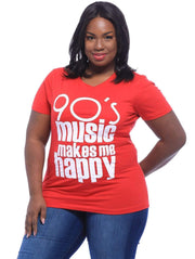 90s Music Makes Me Happy T-Shirt - Izzy & Liv - graphic tee