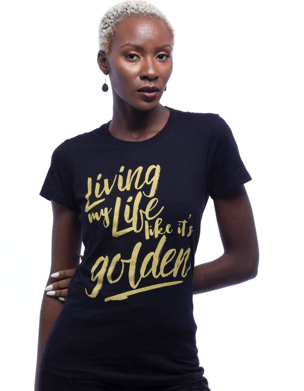 Living My Life Like It's Golden Metallic Print Tee - Izzy & Liv - graphic tee