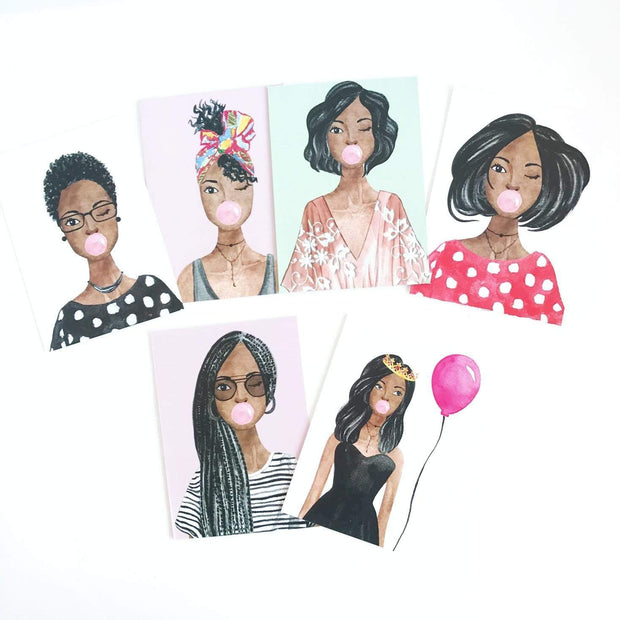 Greeting Card - Brown Sugar Girls 6 Pack Card Set
