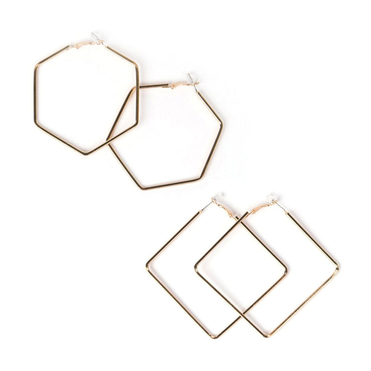 Square + Hexagon Hoop 2-Pair Earring Set (Gold or Silver Plated)