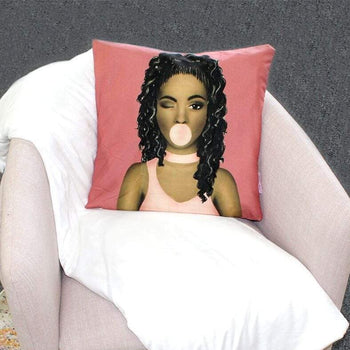 Wavy Hair Brown Sugar Girl Throw Pillow Cover