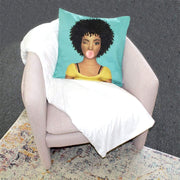 Curly Fro Brown Sugar Girl Throw Pillow Cover