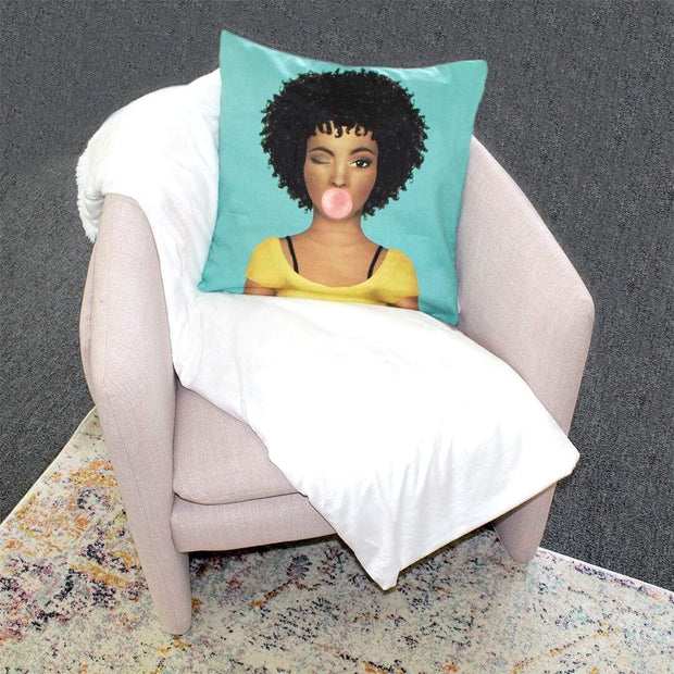 Curly Fro Brown Sugar Girl Throw Pillow Cover - Izzy & Liv - pillow