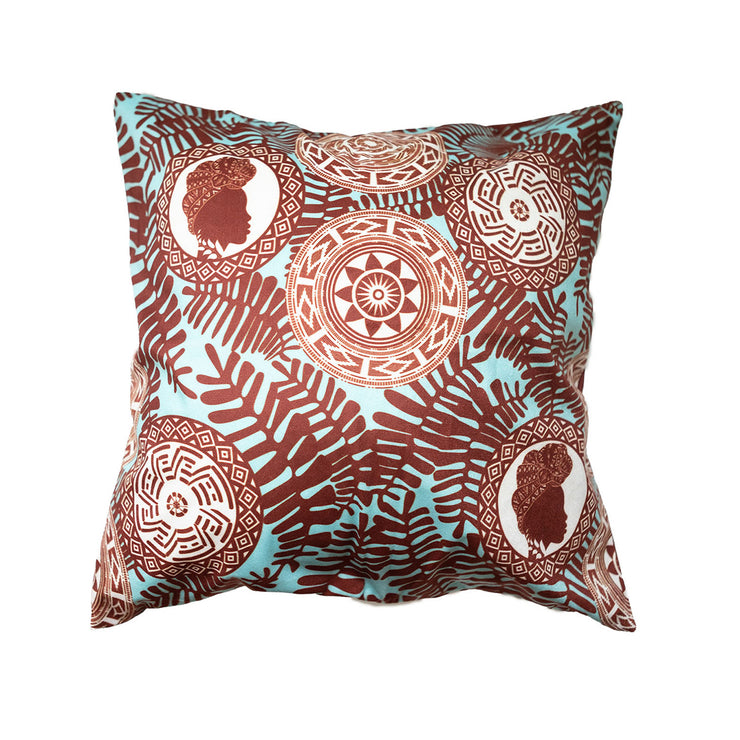 Chocolate Beauty (Teal) Throw Pillow Cover