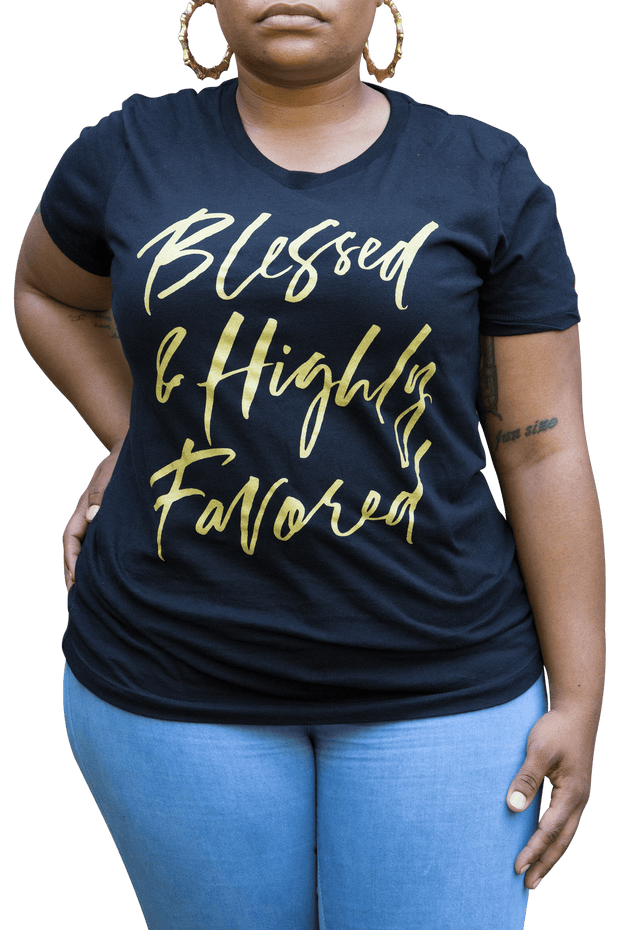 Tank Top - Blessed & Highly Favored Metallic Print Tee