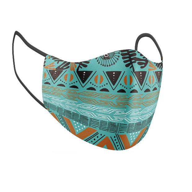 Tribalistic Teal Facial Covering w/Adjustable Straps (Adults)