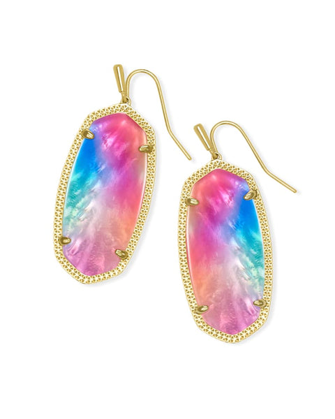 Kendra Scott Elle Gold Drop Earrings In Watercolor Illusion
