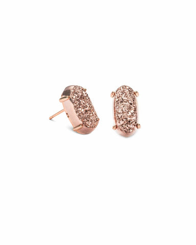 Kendra Scott Betty Rose Gold Stud Earrings In Rose Gold Drusy