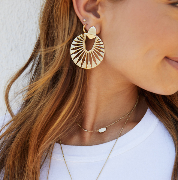 "Kendra Scott ""Didi Sunburst"" Statement Earrings In Vintage Gold"