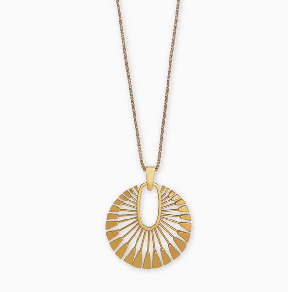 "Kendra Scott ""Deanne Long"" Pendant Necklace In Vintage Gold"