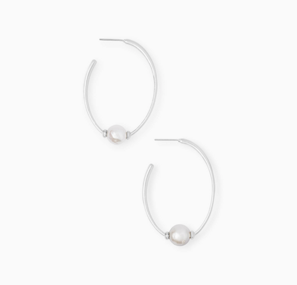 "Kendra Scott ""Regina"" Hoop Earrings in Pearl"