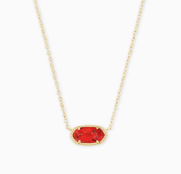 "Kendra Scott ""Elisa"" Gold Pendant Necklace In Bronze Veined Red Magnesite"