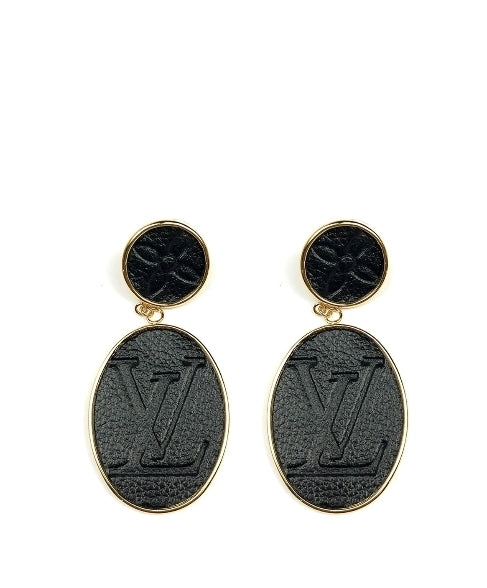 Moon and Lola LEONE BLACK EMBOSSED POST DROP EARRINGS
