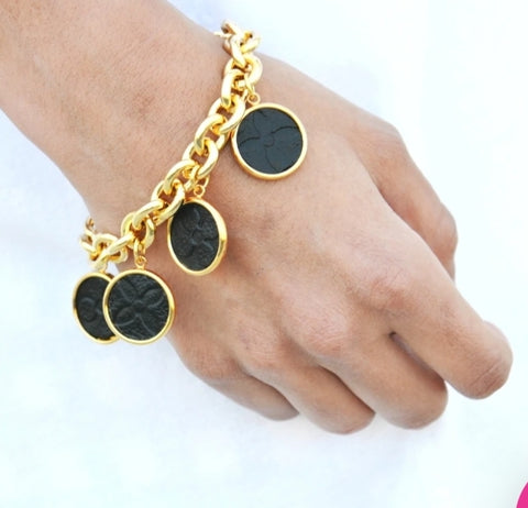 Moon and Lola LEONE BLACK EMBOSSED HATHERLY BRACELET