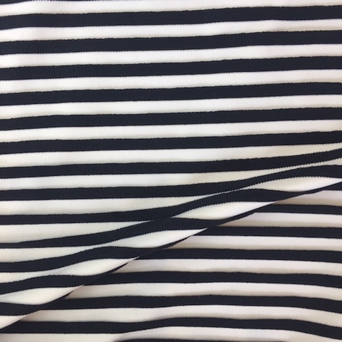 French Viscose Swim Knit Pleated Stripe White/Black 60""