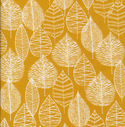 Matte Cotton Laminates by Cloud9 Line Leaf by Eloise Renouf Mustard 60""