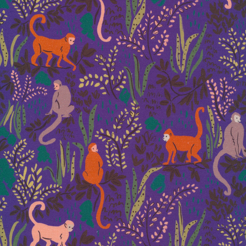 Garden of Eden by Louise Cunningham for Cloud9 Organic Cotton Tranquil Monkeys