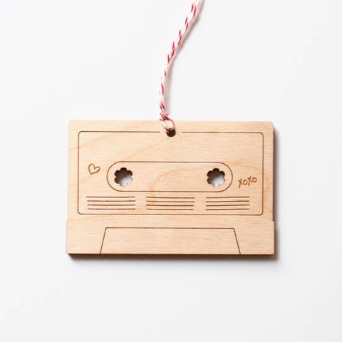 Graphic Anthology Mix Tape Laser-Cut Ornament