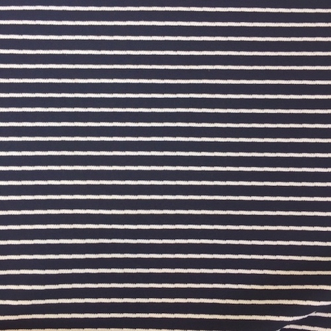 French Viscose Swim Knit Textured Stripe Navy/White 56""
