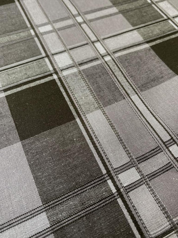 Cotton Lycra Embossed Woven Plaid Black/Gray 47""