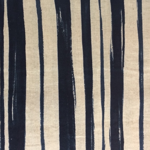 Kokka Cotton/Linen Sheeting Stripes Indigo 44""