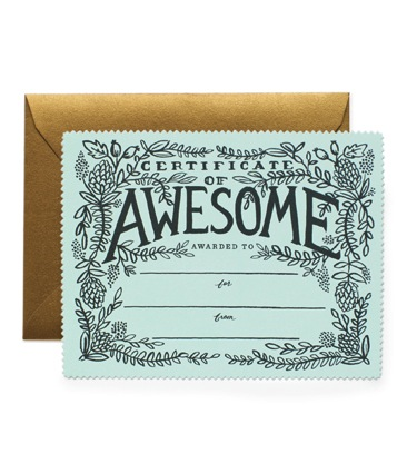 Rifle Paper Co. Certificate of Awesome Card