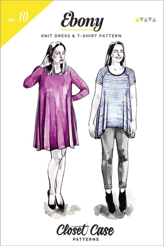 Closet Case Patterns Ebony Tee Shirt & Knit Dress Sewing Pattern