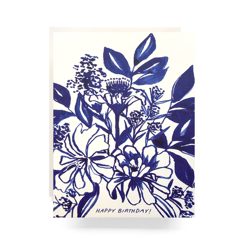 Antiquaria Design Studio Indigo Bouquet Birthday Card